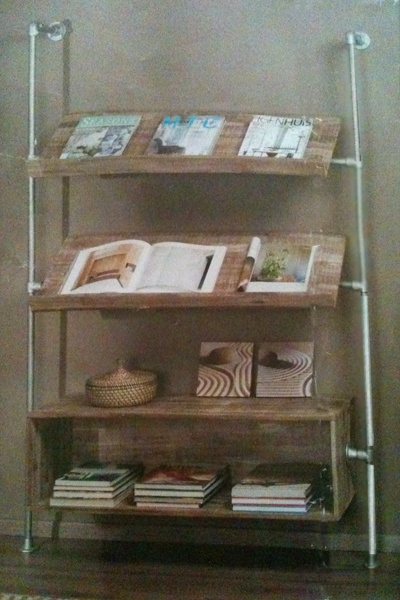 Magazine Rack made with Kee Klamp Pipe Fittings