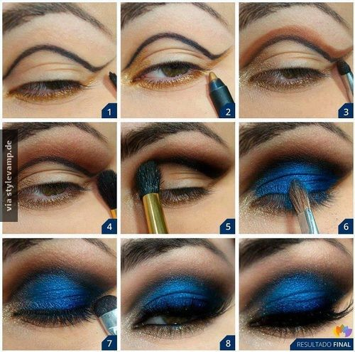 Intensiv blaues Make-Up Tutorial