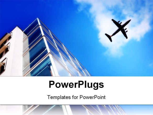 PowerPoint Template Displaying Skyscraper with Large Windows and Flying Plane on the Light Blue Sky