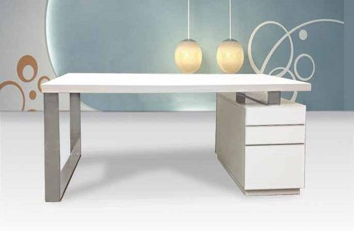 Modern White Lacquer Desk With File Drawers ZCIICD982