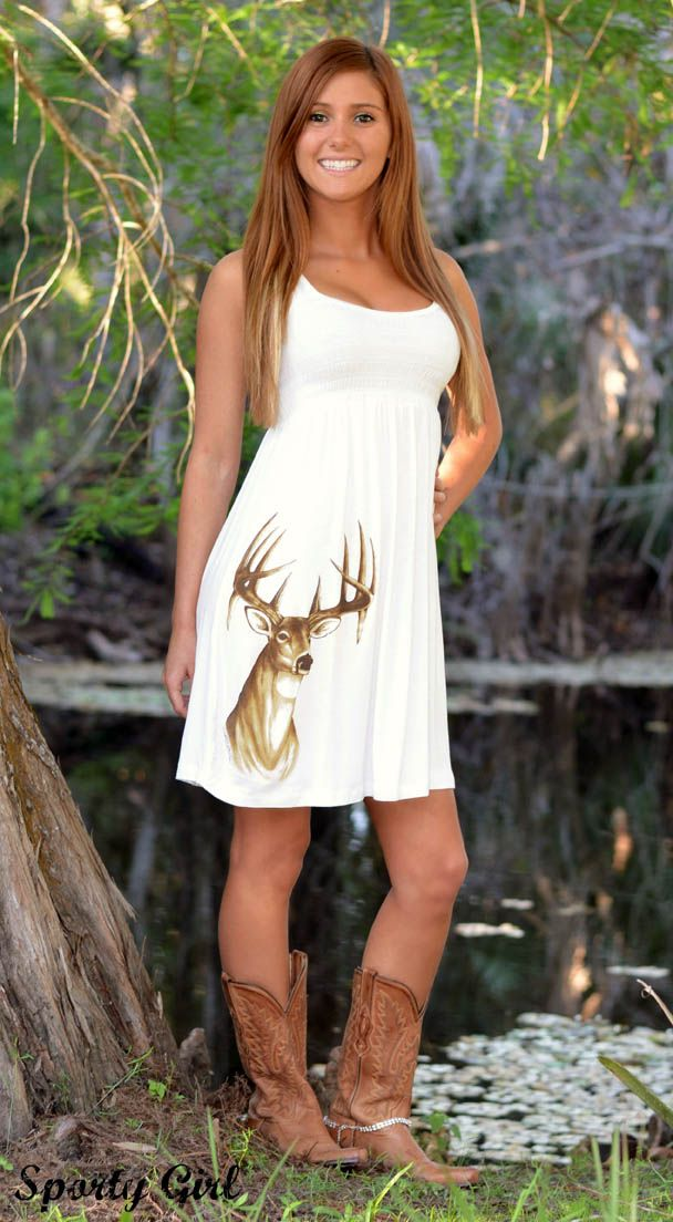 Country Girl Cute white Deer dress | Hunting Clothing and ...