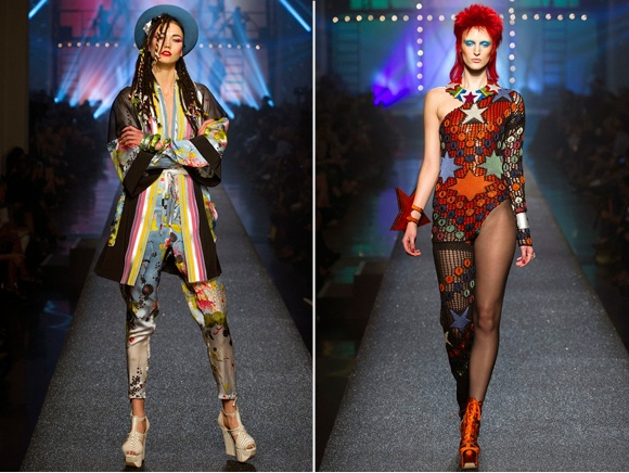 Jean Paul Gaultier SS 2013  inspiration from 1980′s MTV, plus a dash of 70′s glitter rock / Boy George and David Bowie