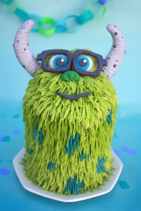 First birthday monster cake for my son! She shares tips and has great close-up shots of her cake for detail.