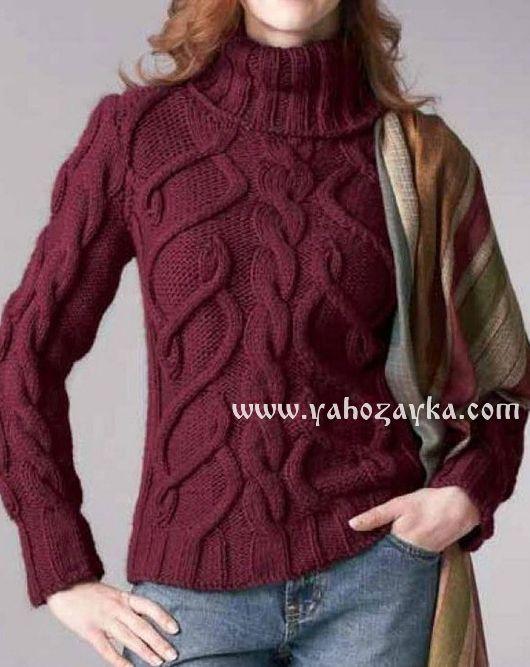 Модный свитер с косами схемы. Вязаные свитера зима 2017. Вязаные спицами зимние свитера