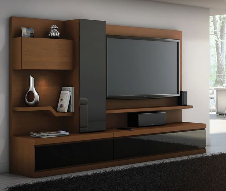 Linea, Credenza with white back panel, storage unit and left curio, Home theater furniture collection from JSP Industries