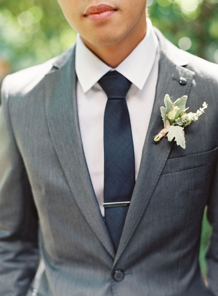 Stone gray suit, white shirt, solid navy necktie, and silver tie bar - seen on @Karen Jacot Darling Me Pretty