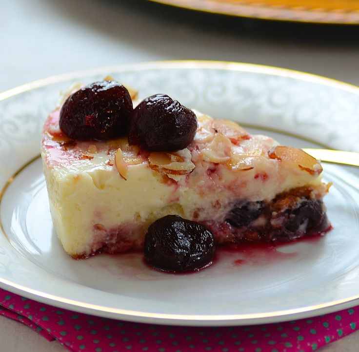 ... One of the best cheesecakes ever! #cheesecake #almond #cherry #dessert