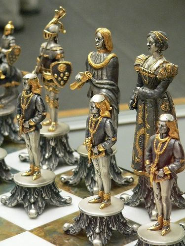 Vasari Figural Chess Set Silvered and Gilded Bronze  Italy