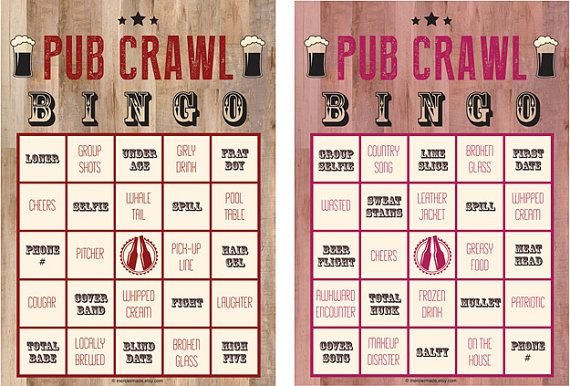 Pub Crawl Bingo: 6-Card Digital Files by MercierMade on Etsy