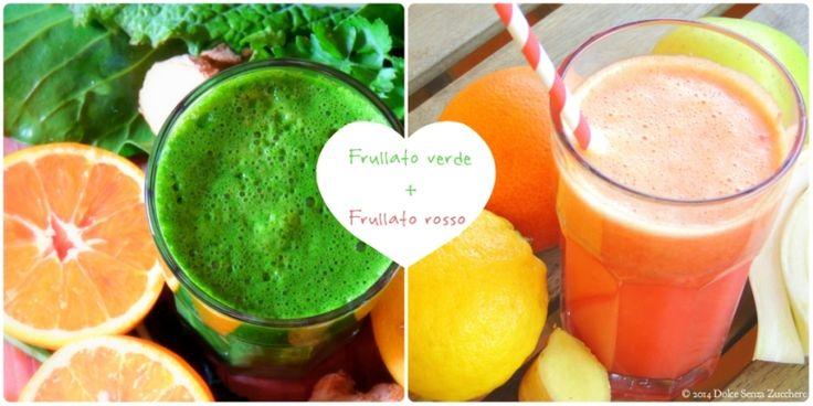 Frullati di Verdure Verdi e Frutta Rossa sono due ricette biologiche e naturali con indice glicemico basso, senza glutine, crudiste e vegan