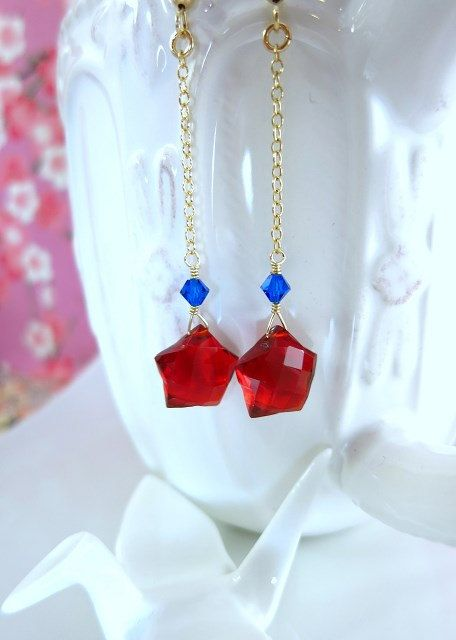 Ruby red quartz star dangle earrings wonderwoman star by KBlossoms