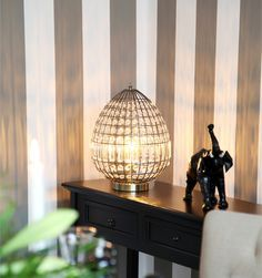 Antique brass metal table lamp with glass prisms Amadeus by Sessak