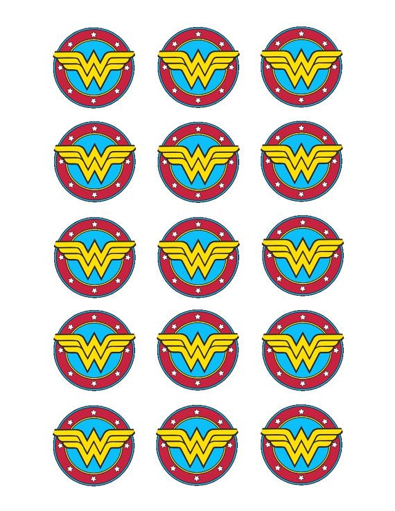Wonder Woman edible cupcake toppers