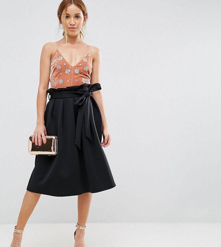 ASOS PETITE Scuba Prom Skirt with Paperbag Waist - Black