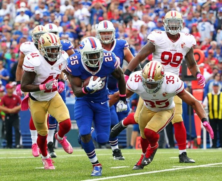 49ers vs. Bills:     October 16, 2016  -  45-16, Bills  -     Buffalo Bills running back LeSean McCoy (25) beats San Francisco 49ers defenders for a touchdown during the second half of an NFL football game Sunday, Oct. 16, 2016, in Orchard Park, N.Y. McCoy ran for 140 yards and three scores in the Bills' 45-16 victory.