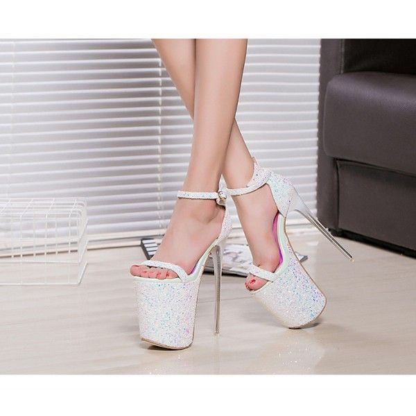 Women's Lillian White Glitter Super Stiletto Heel Stripper Heels for Party, Night club, Dancing club FSJ Design