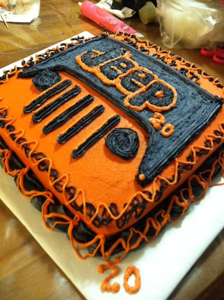 BC birthday cake for my daughters BF...he Loves Jeeps and owns a orange color one that matches this....