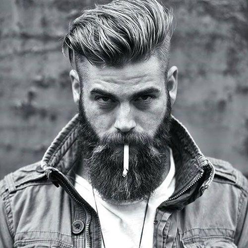 Slicked Back Undercut with Beard