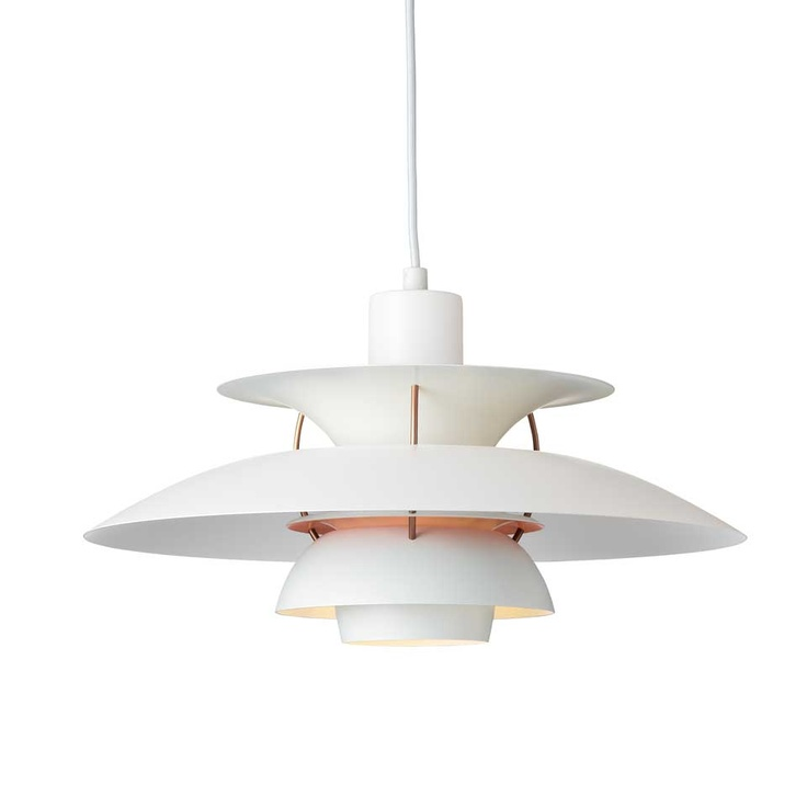 Louis Poulsen - PH5 Pendant in White/Pale rose. For more information and inspiration have a look here: http://www.shop.louispoulsen.dk/