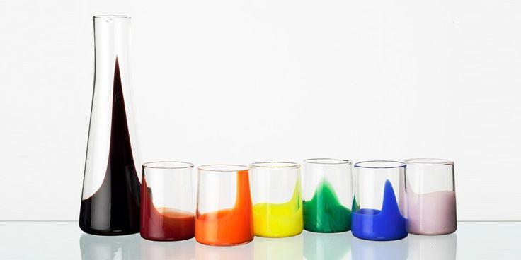 Wedding present for someone arty?  Marta Ash - Multi Coloured Carafe & Glass Set