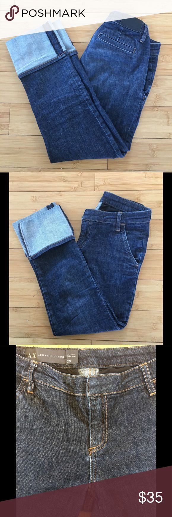 Women's Armani Exchange Straight Cuffed Jeans Awesome looking jeans from Armani Exchange! They are in awesome condition with no issues on the fabric!! Very soft denim!! A/X Armani Exchange Jeans Straight Leg