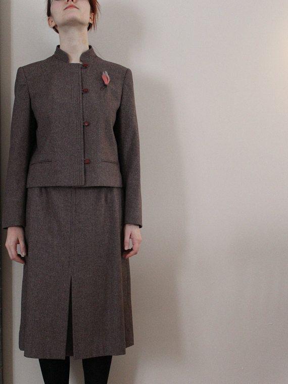 Costume de laine, 2 pièces de laine, femme taille 10, blazer femme, Veston laine, jupe ligne A, tweed femme, vintage 80'