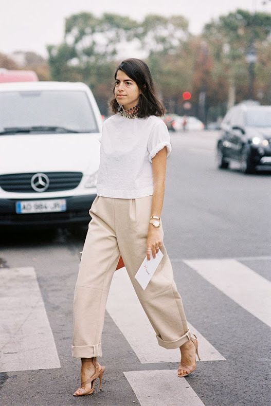 wide leg chinos - cropped top