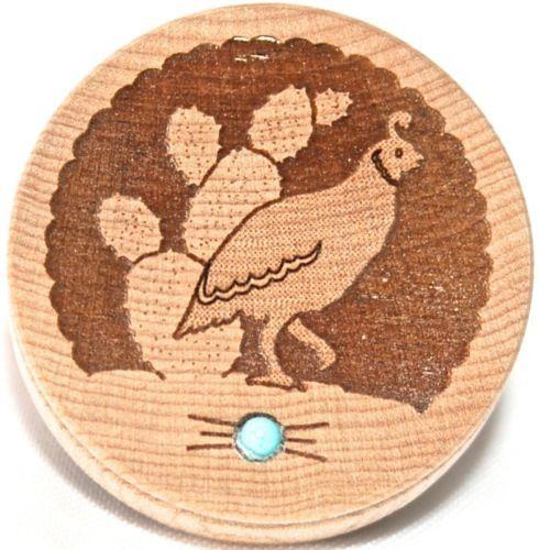 Southwestern Home Decor Carved Wood Box Turquoise Gemstone Quail Trinket Box