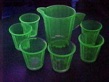Vintage Depression Glass Green Vaseline Akro Agate INTERIOR PANEL 7 pc Water Set