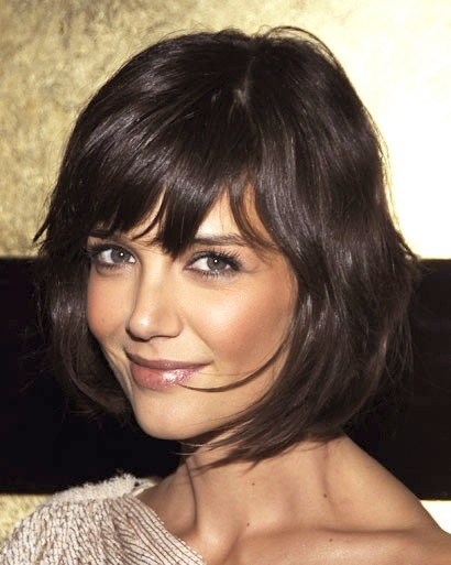 Brunette bob bangs fringe Kate Holmes hair.