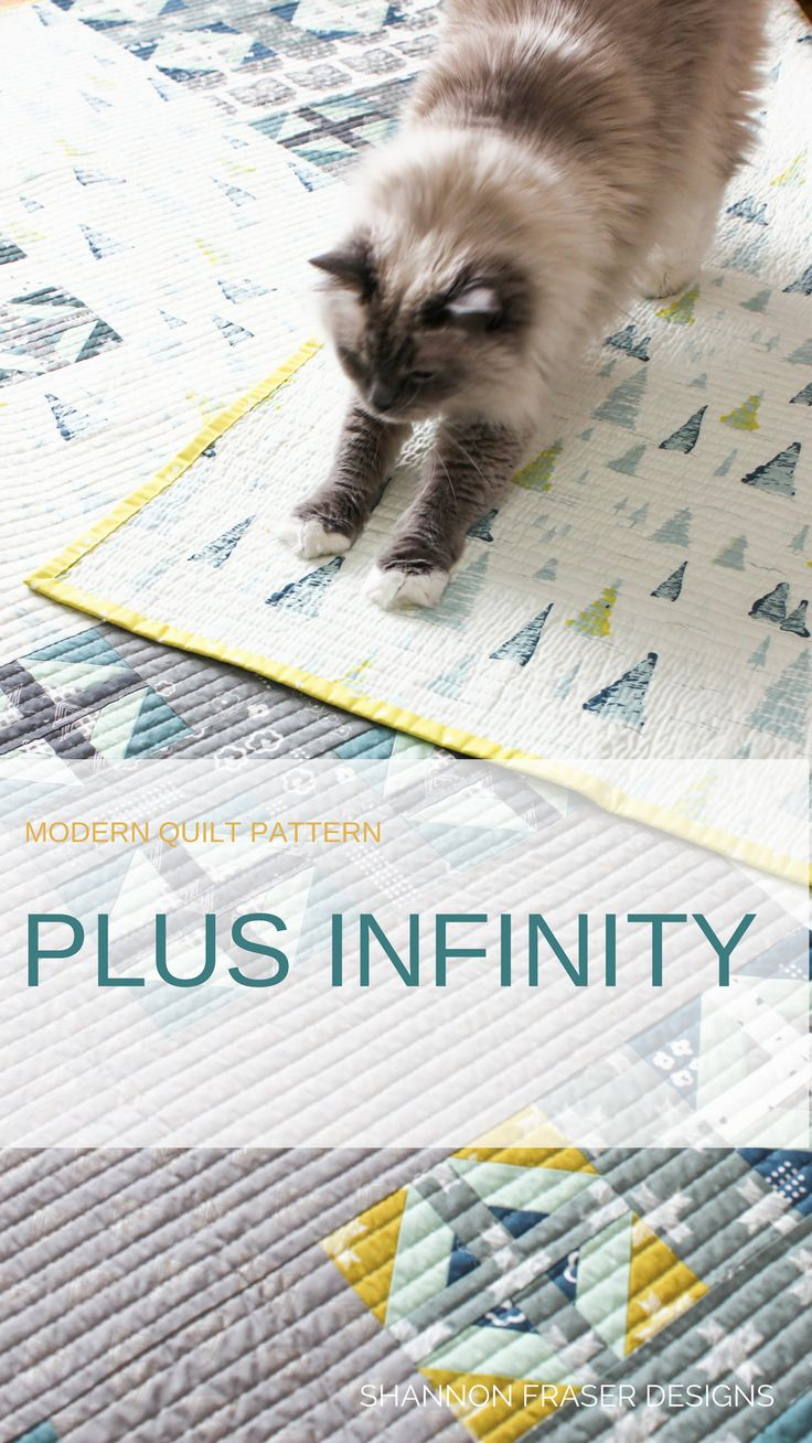 Plus Infinity is an easy modern throw size quilt that is fat quarter friendly. Lots of #hst make for quick piecing #modernquiltpattern #plusquilt #shannonfraserdesigns #quiltpattern #modernquilting