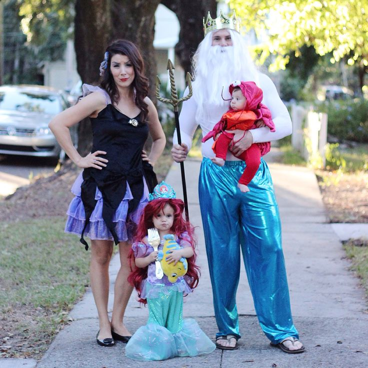 Little Mermaid Family Halloween Costumes. King Triton. Ursula. Toddler Ariel costume. Baby Sebastian Costume.