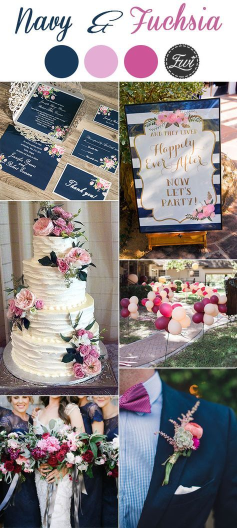 romantic navy blue and fuchsia pink and purple wedding colors