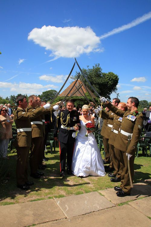 Military salute for bride and groom