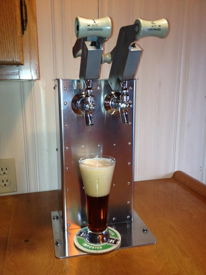 Custom-made airplane throttle quadrant beer tap.