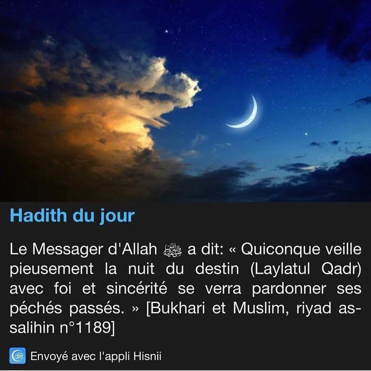"""C'est de nouveau peut-être cette nuit qui correspond à la nuit du Destin #laylatulqadr.  Nouveau rappel pour que chacun/e répète cette invocation lors de ces dernières nuits  de #ramadan et plus tard encore in sha'a-Llah. اللهم إنك عفو تحب العفو فاعف عني  En phonétique : """"Allâhumma innaka 'afuwwun tuhibbul 'afwa fa'fu 'anni""""  Traduction : """"Ô Allâh ! Tu es indulgent Tu aimes le pardon : fais-moi grâce !"""" Ya Allâh ya Rabb accepte nos invocations pardonne-nous lave-nous de nos péchés…"""