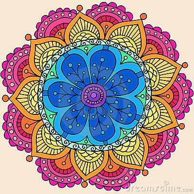 Psychedelic Henna Mandala Doodle Flower Vector by Blue67, via Dreamstime
