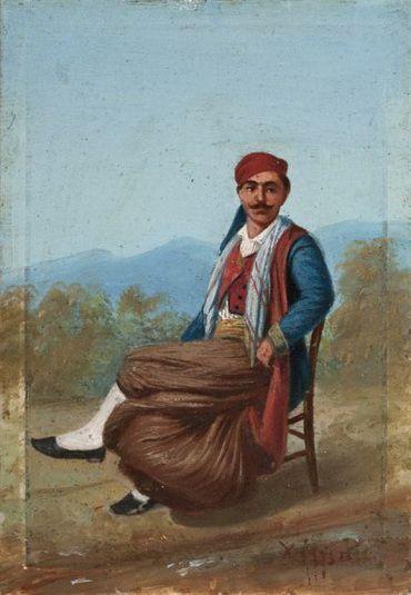 Χέλμης Περικλής (1818 (;) - μετά το 1888) Χιώτης, Λάδι σε μάρμαρο. Συλλογή Ιδρύματος Ε. Κουτλίδη , www.nationalgallery.gr