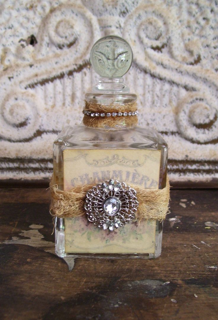 Romantic shabby cottage decorated bottle prairie style French chic perfume vintage. $12.00, via Etsy.