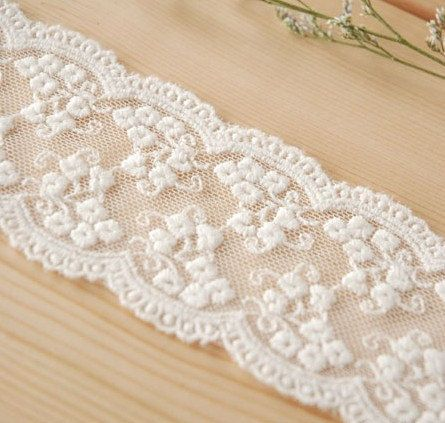 Cream White Floral Emboridery Lace Trim Double Wave Edges 1.96 Inches Wide 2 Yards. $3.99, via Etsy.