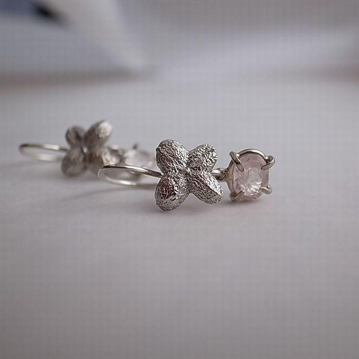 earrings/ silver 925/1000, morganit