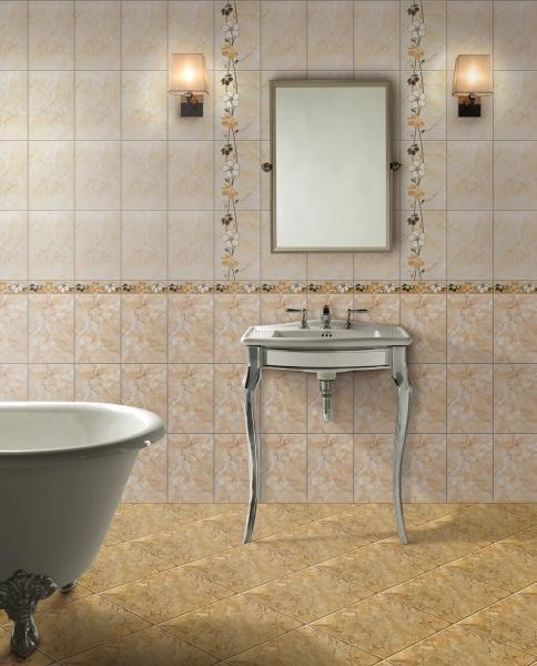 Un model de faianta elegant, cum este faianta Tripoli Beige transforma orice baie intr-o sursa de inspiratie.