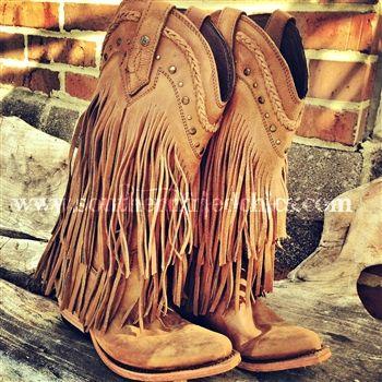 Fringe stivali ragazza del sud - Tan