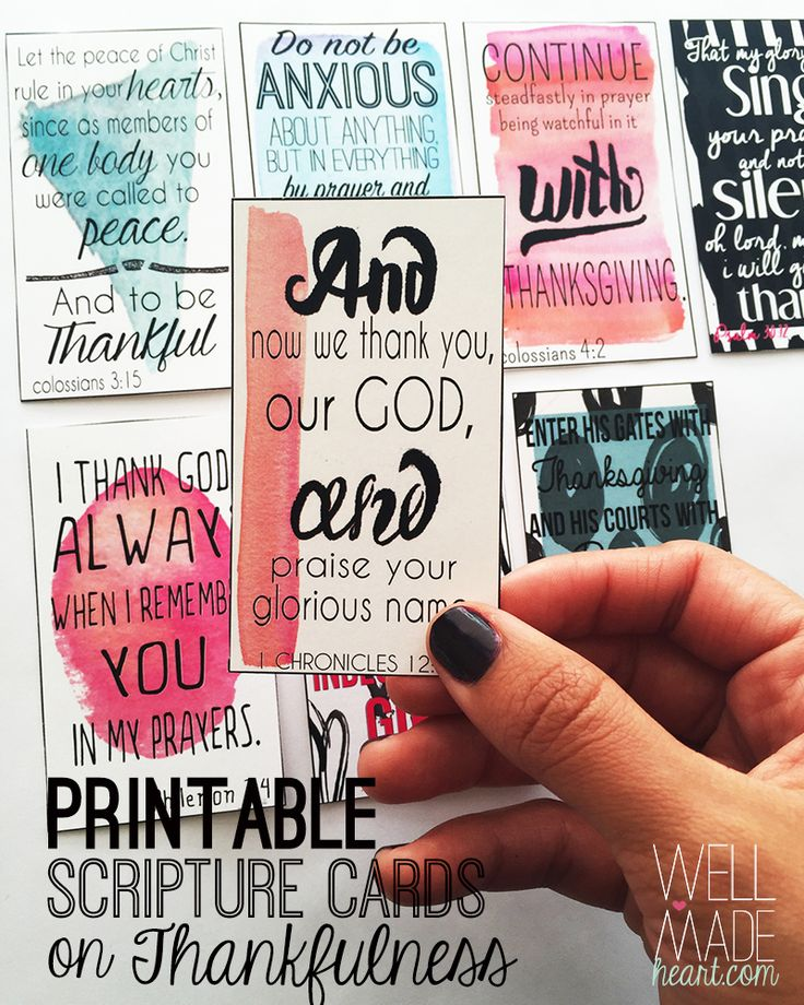 Free Printable Scripture Cards on being Thankful!                                                                                                                                                     More