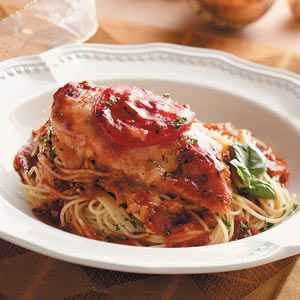 Italian Baked Chicken and angel hair pasta