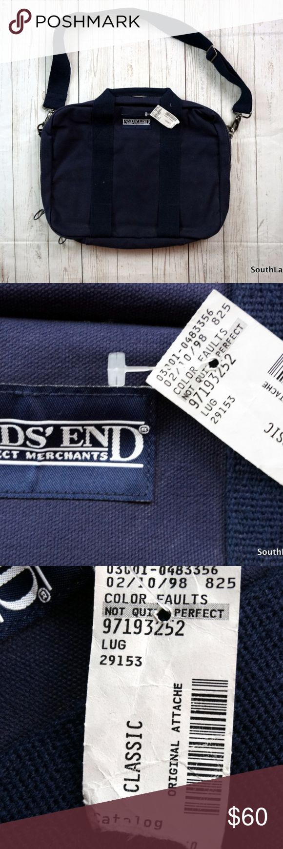 """Vintage Deadstock Lands End Messinger Bag Navy Vintage Deadstock Lands End Messenger Bag Navy  Measures 19"""" Inches by 14"""" Inches!  Made in the USA!  Style #29153  Ships in 1 business day or less from a clean and smoke free environment. Bundle to Save! Thanks! Lands End Bags Messenger Bags"""