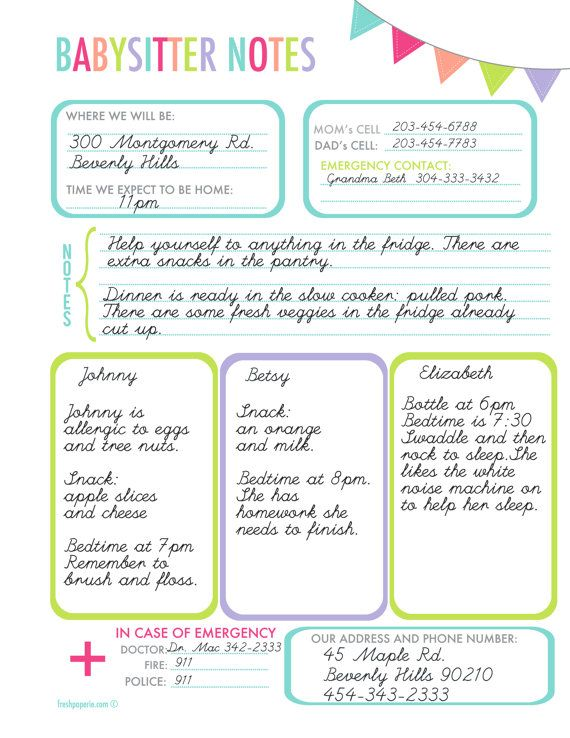 Babysitter Notes