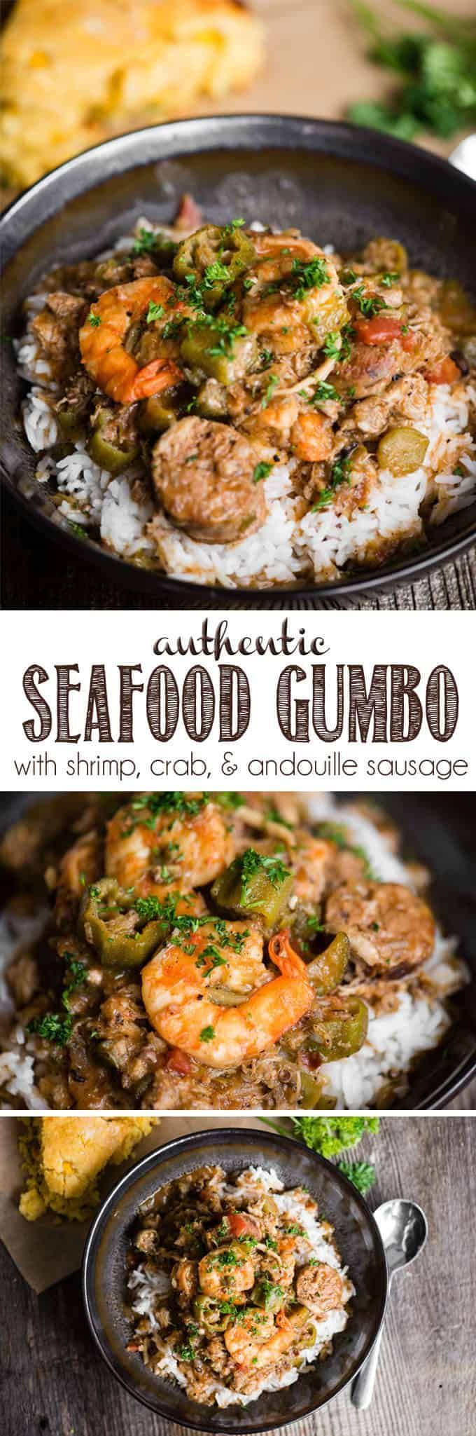 Seafood Gumbo, with shrimp, crab, chicken Andouille sausage, and okra is an authentic spicy Cajun meal served over rice or grits. This recipe is not super easy as it takes time to cook to properly develop all of the flavors. This recipe all starts with a dark and rich roux made from bacon drippings. #gumbo #seafood #cajun
