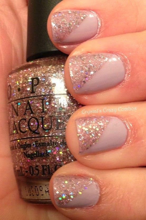 Glitter on Nude slants, great for a big night out #Manicure #NailArt