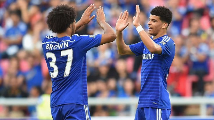 Dominic Solanke: Celebrates goal for Chelsea with Isaiah Brown